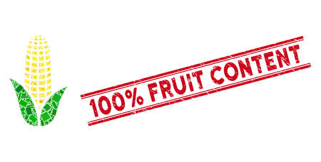 Mosaic corn pictogram and red 100% Fruit Content seal stamp between double parallel lines. Flat vector corn mosaic pictogram of random rotated rectangular elements.