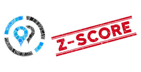 Mosaic geo diagram icon and red Z-Score stamp between double parallel lines. Flat vector geo diagram mosaic icon of random rotated rectangular items. Red Z-Score stamp with distress surface. Ilustração