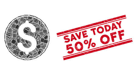 Mosaic dollar coin icon and red Save Today 50% Off rubber print between double parallel lines. Flat vector dollar coin mosaic icon of scattered rotated rectangle items.