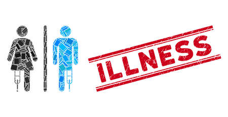 Mosaic patient WC persons pictogram and red Illness seal stamp between double parallel lines. Flat vector patient WC persons mosaic pictogram of random rotated rectangle items. Illustration