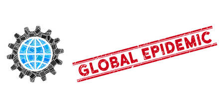 Mosaic global options icon and red Global Epidemic seal between double parallel lines. Flat vector global options mosaic icon of random rotated rectangular items.