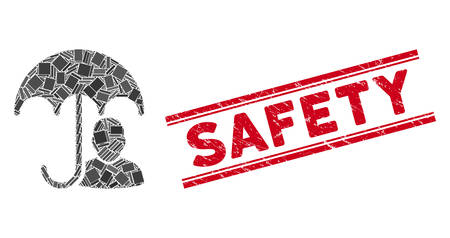 Mosaic user safety umbrella icon and red Safety seal stamp between double parallel lines. Flat vector user safety umbrella mosaic icon of random rotated rectangle elements.