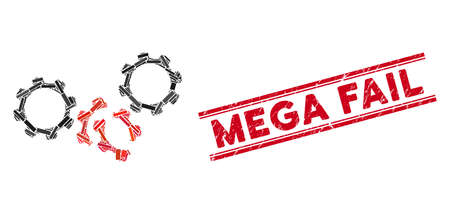 Mosaic gears damage icon and red Mega Fail stamp between double parallel lines. Flat vector gears damage mosaic icon of scattered rotated rectangle items.