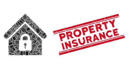 Mosaic lock building icon and red Property Insurance seal stamp between double parallel lines. Flat vector lock building mosaic icon of scattered rotated rectangle elements. Illustration