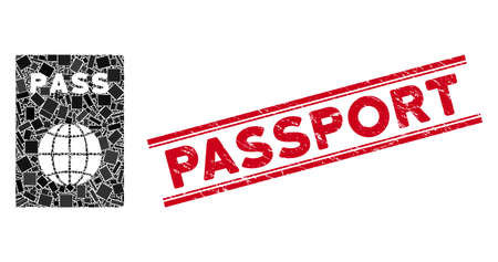 Mosaic passport pictogram and red Passport seal stamp between double parallel lines. Flat vector passport mosaic pictogram of random rotated rectangle items.