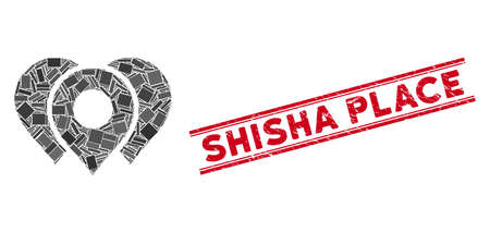 Mosaic location markers pictogram and red Shisha Place seal between double parallel lines. Flat vector location markers mosaic pictogram of random rotated rectangular items.