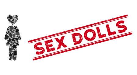 Mosaik-Liebhaber-Frauensymbol und roter Sex Dolls-Siegelstempel zwischen doppelten parallelen Linien. Flaches Vektorliebhaberfrauenmosaiksymbol von randomisierten gedrehten Rechteckelementen. Vektorgrafik