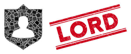 Mosaic lord shield icon and red Lord stamp between double parallel lines. Flat vector lord shield mosaic icon of random rotated rectangular items. Red Lord stamp with grunge textures.