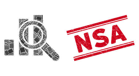Mosaic explore graphics icon and red NSA seal stamp between double parallel lines. Flat vector explore graphics mosaic icon of scattered rotated rectangle elements.