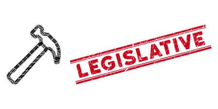 Mosaic hammer icon and red Legislative watermark between double parallel lines. Flat vector hammer mosaic icon of random rotated rectangular elements. Red Legislative watermark with scratched texture. Иллюстрация