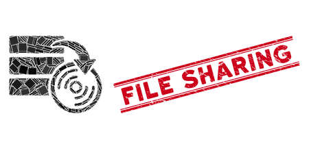 Mosaic database backup pictogram and red File Sharing seal stamp between double parallel lines. Flat vector database backup mosaic pictogram of random rotated rectangular items.