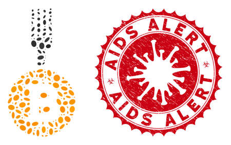 Mosaic Bitcoin fork icon and red rounded rubber stamp seal with AIDS Alert phrase and coronavirus symbol. Mosaic vector is created with Bitcoin fork icon and with scattered elliptic items.