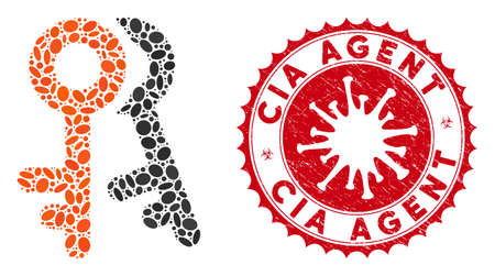 Mosaic access keys icon and red rounded rubber stamp watermark with CIA Agent text and coronavirus symbol. Mosaic vector is composed with access keys pictogram and with random elliptic items.