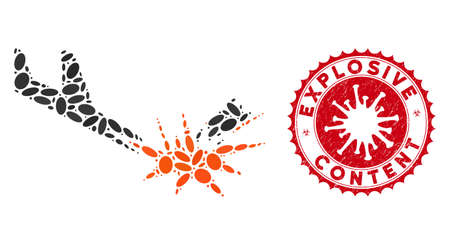 Collage aircraft bomb explosion icon and red rounded rubber stamp seal with Explosive Content text and coronavirus symbol.