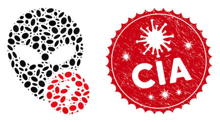 Mosaic alien status icon and red rounded corroded stamp seal with CIA text and coronavirus symbol. Mosaic vector is designed with alien status icon and with random elliptic spots. Ilustração
