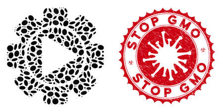 Mosaic automation icon and red round rubber stamp seal with Stop GMO caption and coronavirus symbol. Mosaic vector is designed with automation icon and with random elliptic items.