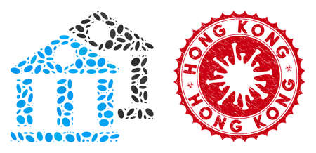 Mosaic banks icon and red rounded grunge stamp seal with Hong Kong caption and coronavirus symbol. Mosaic vector is formed with banks icon and with randomized oval spots.