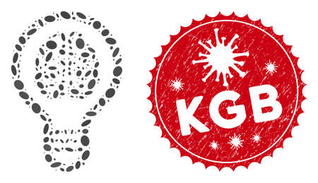 Mosaic brain bulb icon and red round grunge stamp seal with KGB phrase and coronavirus symbol. Mosaic vector is formed with brain bulb icon and with randomized oval elements. KGB stamp uses red color,