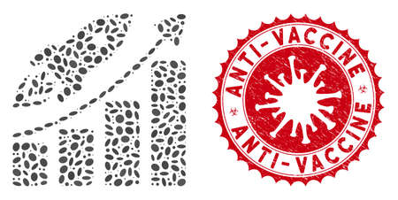 Mosaic business growth icon and red round distressed stamp watermark with Anti-Vaccine text and coronavirus symbol. Mosaic vector is created with business growth icon and with scattered oval elements. Vectores