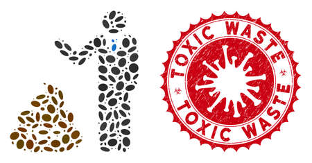 Mosaic businessman show ICO shit icon and red rounded corroded stamp watermark with Toxic Waste phrase and coronavirus symbol.