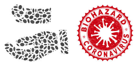 Mosaic cash payment hand icon and red rounded rubber stamp seal with Biohazard Coronavirus phrase and coronavirus symbol.