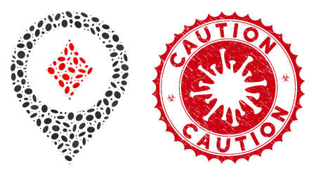 Mosaic casino map pointer icon and red round distressed stamp watermark with Caution text and coronavirus symbol.