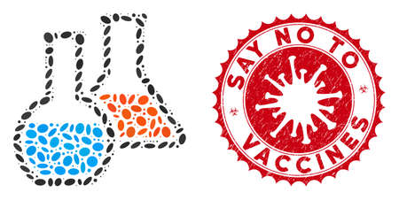 Mosaic chemistry icon and red rounded corroded stamp seal with Say No to Vaccines caption and coronavirus symbol. Mosaic vector is created from chemistry pictogram and with random ellipse spots.