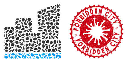 Mosaic city icon and red round rubber stamp seal with Forbidden City caption and coronavirus symbol. Mosaic vector is created with city icon and with scattered elliptic spots. Ilustração