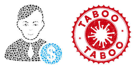 Mosaic commercial loyer icon and red round grunge stamp watermark with Taboo phrase and coronavirus symbol. Mosaic vector is composed with commercial loyer icon and with scattered elliptic items.