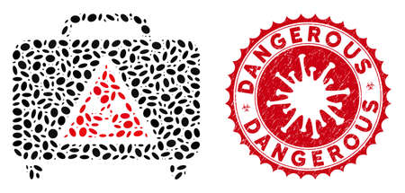 Mosaic dangerous luggage icon and red rounded distressed stamp seal with Dangerous phrase and coronavirus symbol. Mosaic vector is designed with dangerous luggage icon and with random elliptic spots.