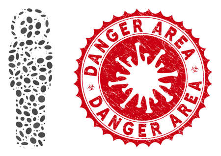 Mosaic cosmonaut icon and red round rubber stamp seal with Danger Area caption and coronavirus symbol. Mosaic vector is formed with cosmonaut icon and with scattered oval spots. Ilustrace