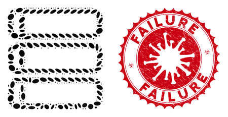 Mosaic database icon and red rounded distressed stamp seal with Failure text and coronavirus symbol. Mosaic vector is composed from database icon and with scattered elliptic spots.