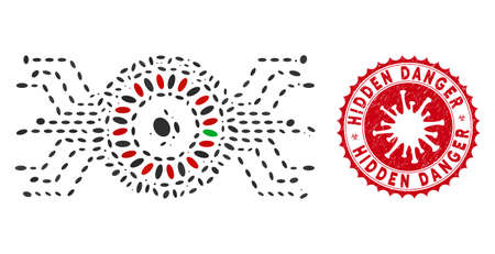 Mosaic digital casino roulette icon and red rounded corroded stamp watermark with Hidden Danger caption and coronavirus symbol.