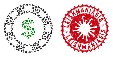 Mosaic dollar casino chip icon and red rounded distressed stamp seal with Leishmaniasis phrase and coronavirus symbol. Mosaic vector is formed with dollar casino chip icon and with random oval items.
