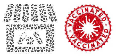 Mosaic drug shop icon and red round grunge stamp seal with Vaccinated caption and coronavirus symbol. Mosaic vector is formed with drug shop icon and with randomized elliptic elements. Vektoros illusztráció