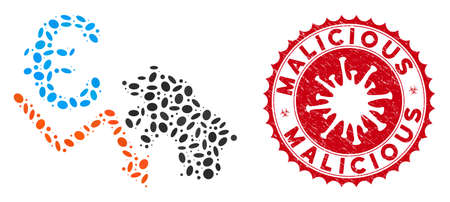 Mosaic euro bear stock trend icon and red rounded grunge stamp seal with Malicious phrase and coronavirus symbol. Illustration