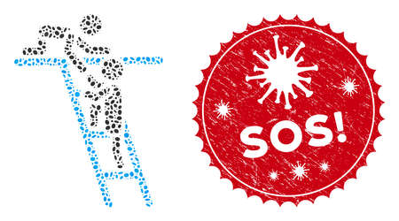 Mosaic help icon and red round rubber stamp watermark with Sos! text and coronavirus symbol. Mosaic vector is composed with help icon and with randomized ellipse elements. Sos! stamp uses red color,