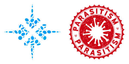 Collage impact arrows icon and red rounded rubber stamp seal with Parasitism text and coronavirus symbol. Mosaic vector is designed with impact arrows pictogram and with randomized elliptic items.