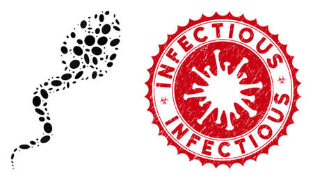 Collage infectious icon and red rounded grunge stamp watermark with Infectious caption and coronavirus symbol. Mosaic vector is formed with infectious icon and with scattered oval elements.