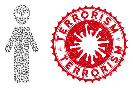 Mosaic happy alien person icon and red round rubber stamp seal with Terrorism caption and coronavirus symbol. Mosaic vector is designed from happy alien person icon and with random ellipse items.