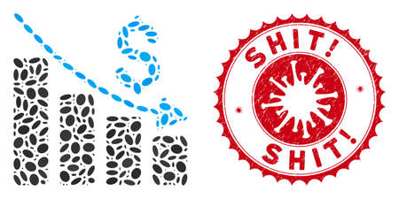 Mosaic recession icon and red rounded rubber stamp seal with Shit! text and coronavirus symbol. Mosaic vector is designed from recession icon and with random oval spots. Shit! stamp uses red color, 向量圖像