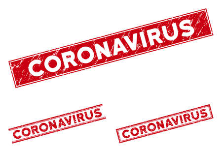 Coronavirus seal stamps. Red vector rectangular textured seal stamps with Coronavirus message. Designed for rubber imitations with corroded rubber style. Illustration