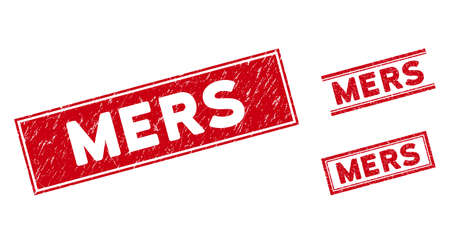 Mers seals. Red vector rectangular distress stamp imprints with Mers message. Designed for rubber imitations with unclean rubber texture.