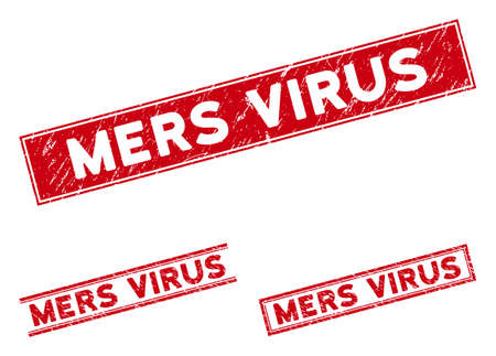 Mers Virus stamps. Red vector rectangle grunge stamps with Mers Virus message. Designed for rubber imitations with corroded rubber style. Illustration