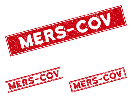 Mers-Cov seal stamps. Red vector rectangle textured stamps with Mers-Cov message. Designed for rubber imitations with scratched rubber surface.