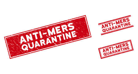 Anti-Mers Quarantine watermarks. Red vector rectangular distress watermarks with Anti-Mers Quarantine title. Designed for rubber imitations with scratched rubber style. Illustration