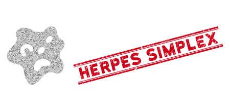 Icône d'amibe en mosaïque et cachet rouge Herpes Simplex entre deux lignes parallèles. Pictogramme de mosaïque d'amibe de vecteur plat d'éléments linéaires tournés dispersés.