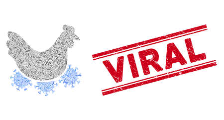 Mosaic chicken virus pictogram and red Viral stamp between double parallel lines. Flat vector chicken virus mosaic pictogram of random rotated line elements. Red Viral stamp with distress textures.