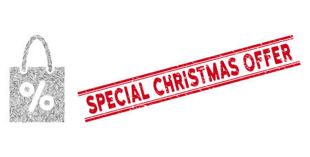 Mosaic shopping discount icon and red Special Christmas Offer seal stamp between double parallel lines. Flat vector shopping discount mosaic pictogram of scattered rotated line elements. Иллюстрация
