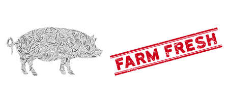 Mosaic swine pictogram and red Farm Fresh seal stamp between double parallel lines. Flat vector swine mosaic pictogram of scattered rotated line elements. Stock Illustratie